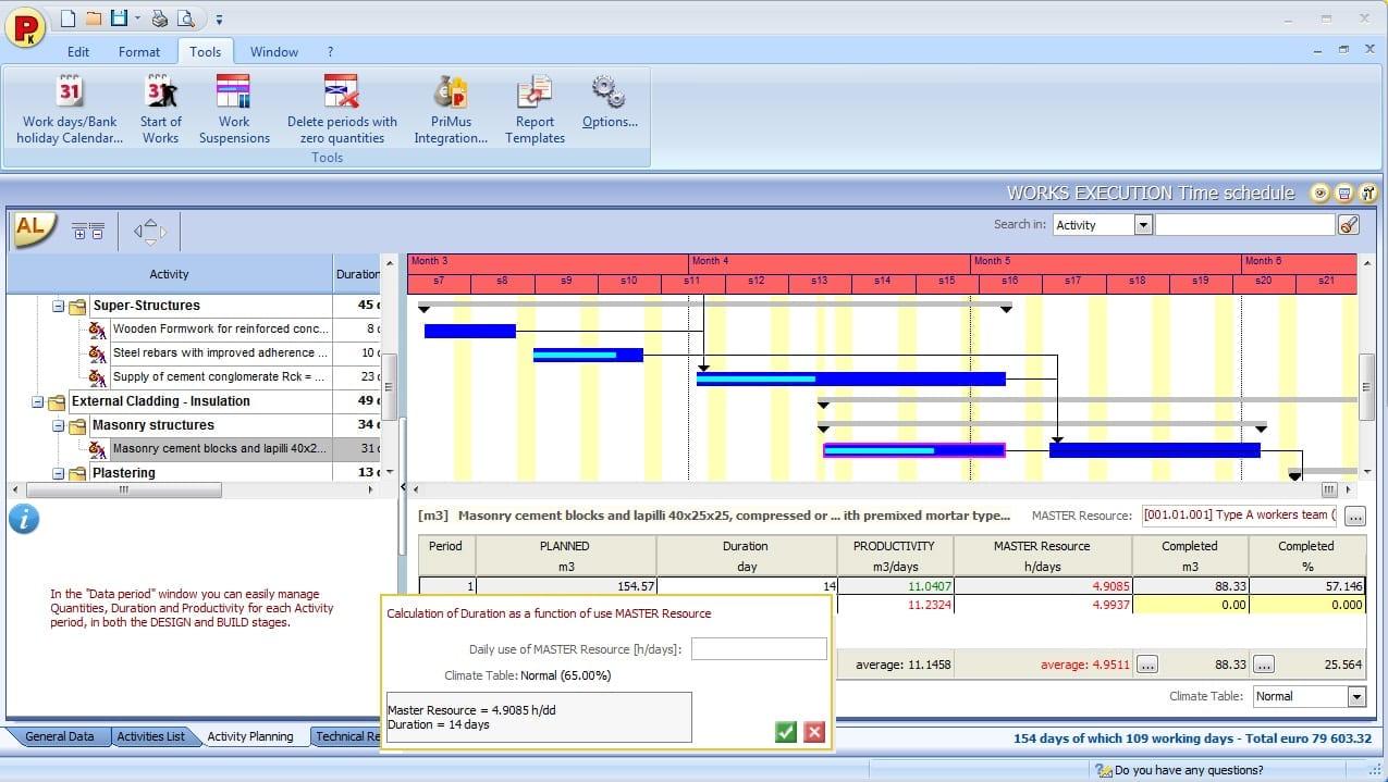 Bauzeitenplan, programmieren der Tätigkeiten