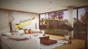 Casa San Roque Echtzeit-Rendering mit Effekt Detail Ansicht Living