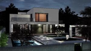 C-House Außenansicht Nacht_Edificius_BIM