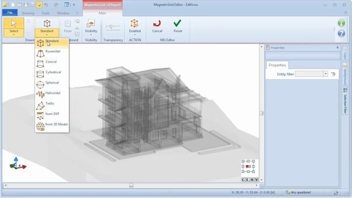 Auswahl Gittermodell MagneticGrids – BIM-Software Edificius