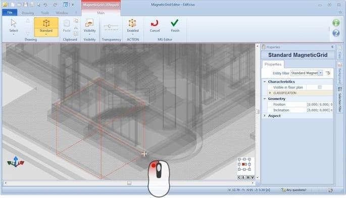 Fixieren des MagneticGrids - BIM-Software Edificius