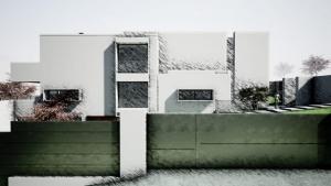 Render Camarines BIM-Software Edificius - Ansicht Seite und Umzäunung mit künstlerischem Effekt