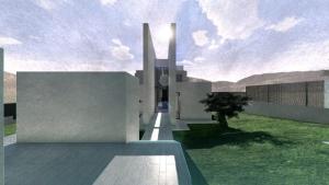 Render Camarines BIM-Software Edificius - Ansicht Vorderseite Eingang mit künstlerischem Effekt