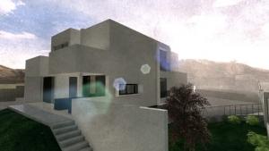 Render Camarines BIM-Software Edificius - Außenansicht Hinterseite mit künstlerischem Effekt