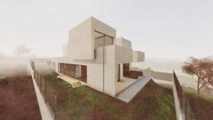 Render Camarines BIM-Software Edificius - Terrasse mit künstlerischem Effekt