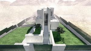 Render Camarines BIM-Softwares Edificius - Ansicht von oben Eingang mit künstlerischem Effekt