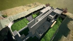 Render Camarines BIM-Softwares Edificius - Ansicht von oben mit künsterlischem Effekt