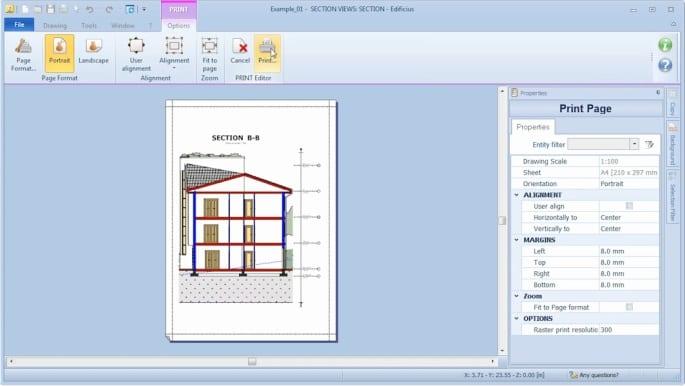 Benutzerdefinieren der Drucke mit Edificius