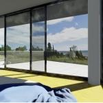 Schlafzimmer mit Außenansicht JC House