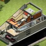 Dreidimensionale Schnittzeichnung Casa SJ
