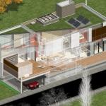 Ansicht von oben 3D-Schnittzeichnung mit Transparenz Casa SJ