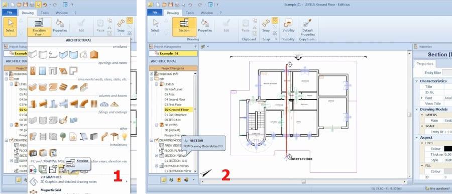 Auswahl und Schnitt- Erstellung mit Edificius