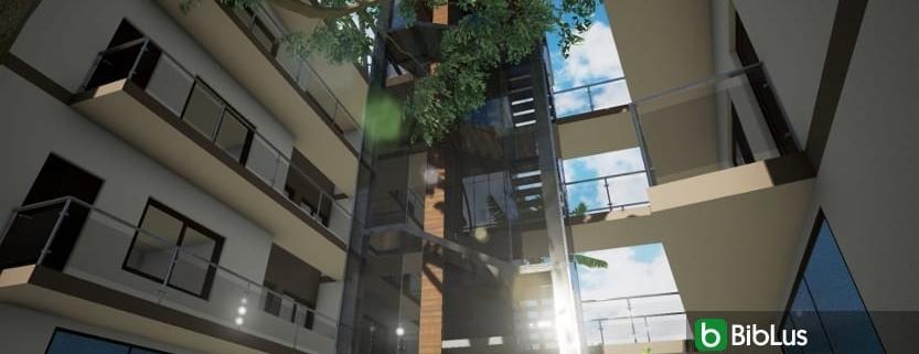 Eine Außentreppe aus Stahl und Glas mit einer BIM Edificius