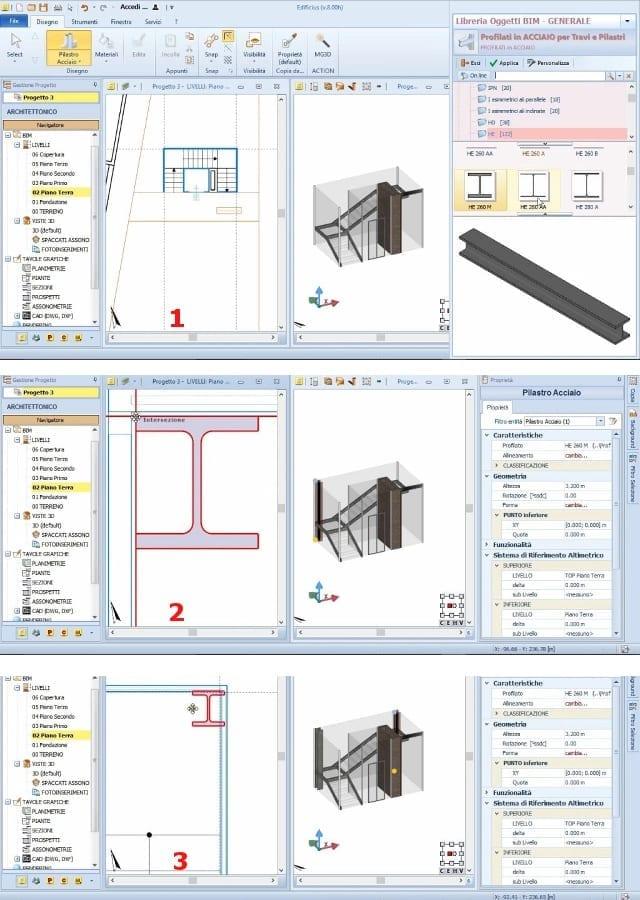 Schritte für die Einfügung der Stahlträger mit BIM-Software Edificius