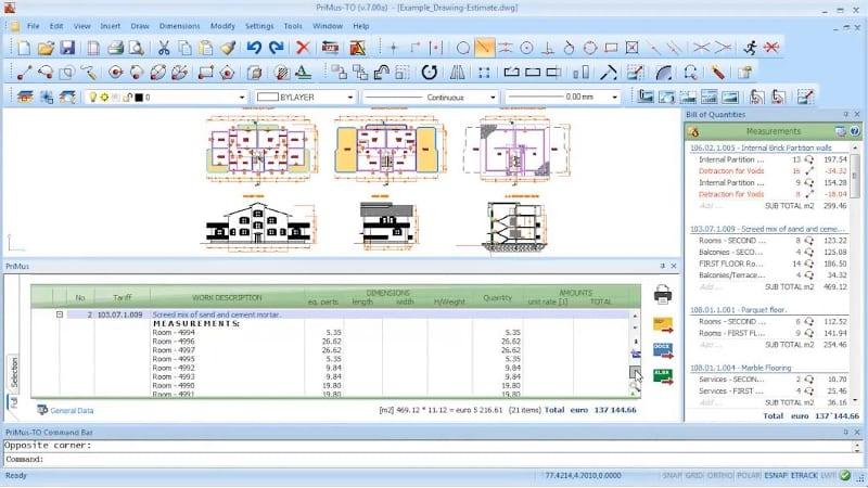 CAD-Schnittstelle und Raumbemassung in PriMus-TO