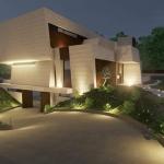 Render nachts der Zugangsrampe_Marble-Bamboo