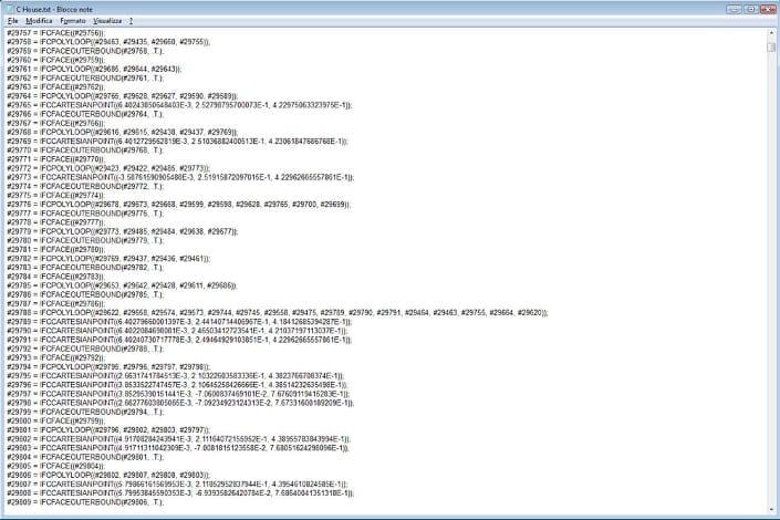IFC-Modell mit Notepad geöffnet