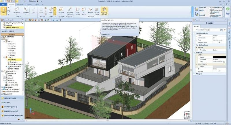 Dreidimensionale Schnittzeichnung-aus Schnitt-BIM-Edificius