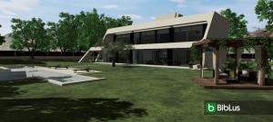 Organisation der Außenanlagen einer Villa mit einer Software Edificius