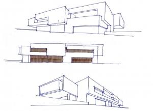 Projektskizze, wo der Verlauf der Villa hervorgehoben ist