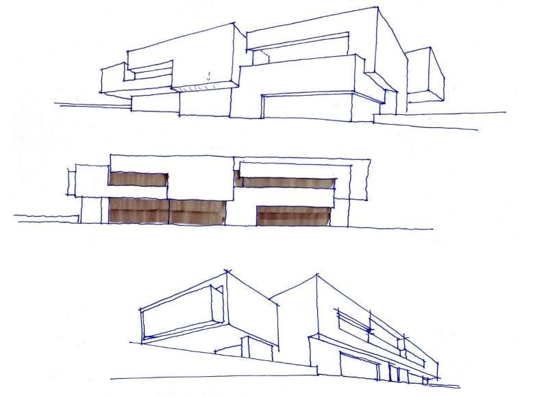 Projektskizze, in welcher der Verlauf der Villa hervorgehoben ist