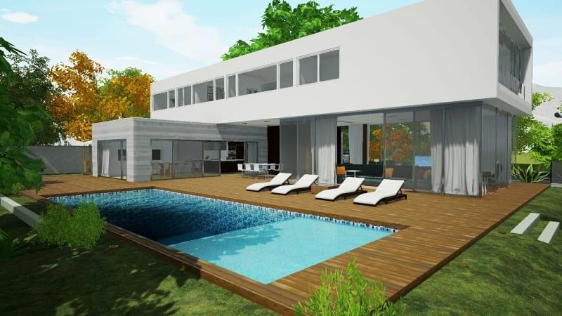Rendering Pool Casa-en-Los-Cisnes-software BIM Edificius