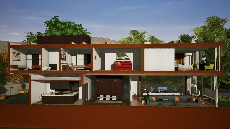 Dreidimensionale Schnittzeichnung-Casa-En-Los-Cisnes-Edificius-software-BIM