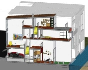 Ebenen von Reihenhäusern – ein Beispiel einer dreidimensionalen Schnittzeichnung des Projekts Borneo-Sporenburg-Viertel in Amsterdam