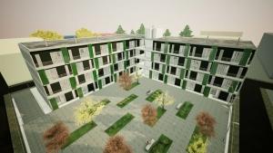 Modell von Scocial Housing, inspiriert durch das Lleida-Projekt des Coll-Leclerc Büros