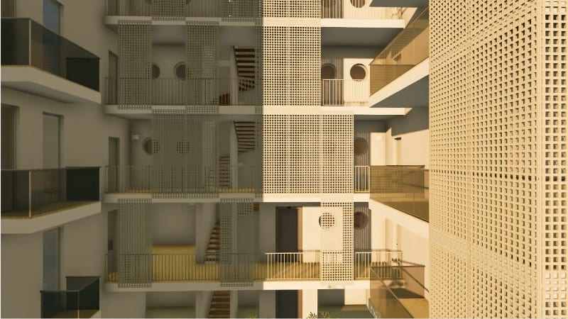 Social Housing- Lecce – Rendering der Treppe