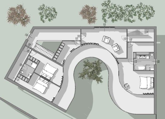 Einfamilienhäuser-berühmter-Architekten-Casa-Kwantes-Grundriss-Erste-Etage
