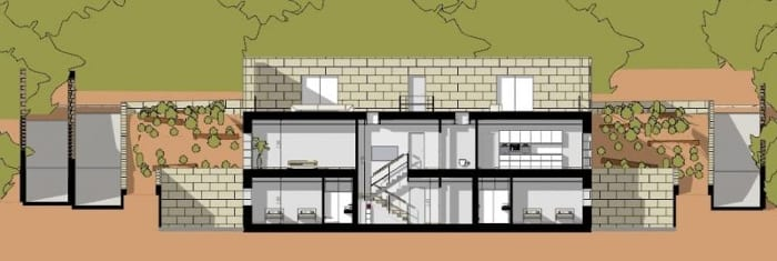 Moderne-Einfamilienhäuser-House-of-the-Infinite-Schnitt E-E-BIM-Software-Edificius