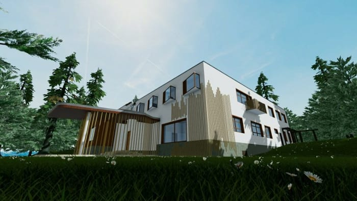Villa-Mairea_Alvar-Aalto-Eingang-Rendering-BIM-Software-Edificius