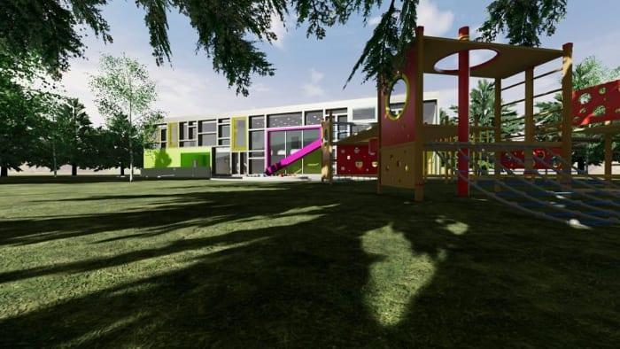 Spielplatz-Außen-Projekte_Schulgebäude_Troplo-Kids_Rendering_BIM-Software-Architektur-Edificius