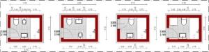 Badezimmer-Schemata-Gegenübergesetzte-Badanordnung- Edificius-BIM-Software-Architektur