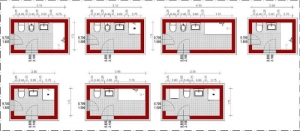 Badezimmer-Schemata-lineare-Anordnung- Edificius-BIM-Software-Architektur