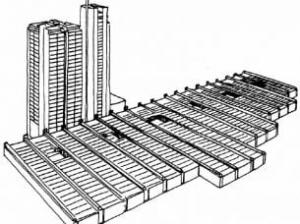 Krankenhaus-Flachbau mit aufgesetzten Bettenhäuser