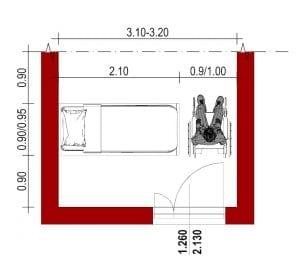 Krankenhauszimmer-Behindertengerecht-Grundriss