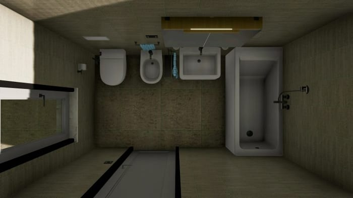 Wie-man ein Badezimmer entwirft-Rendering von oben-Edificius-BIM-Software-Architektur