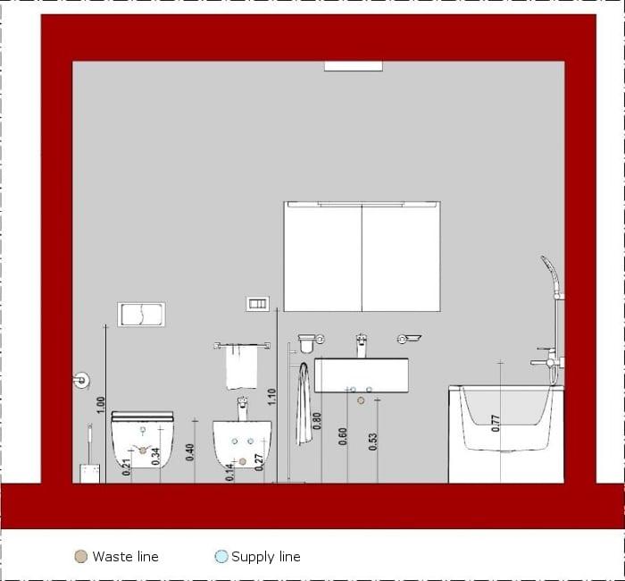 Wie-man ein Badezimmer entwirft-Schnitt-Edificius-BIM-Software-Architektur