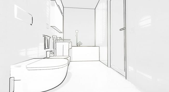 Wie-man ein Badezimmer entwirft-Sketch-Edificius-BIM-Software-Architektur