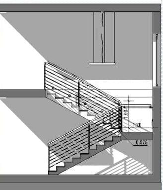 Treppenhausgestaltung- Dreiläufige E-Treppe mit Halbpodest-Schnitt-BIM-Software-Architektur-Edificius