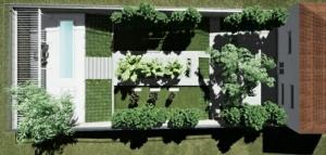 Aussenraum-Architektur Rendering Luftansicht