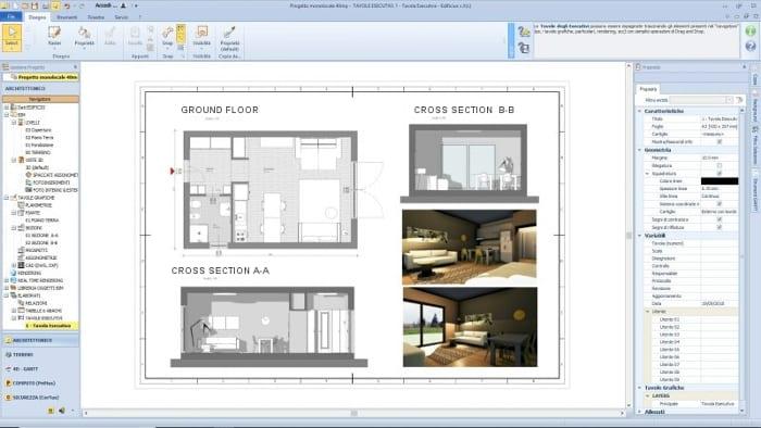Projekt-Einzimmerwohnung-Ausführungsplan-Architektur-BIM-Software-Edificius