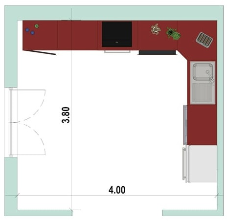 2D-Grundriss einer Eckküche mit der Software Edificius für den Architekturentwurf erstellt