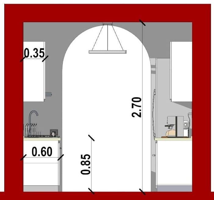 Schnitt eine Küche in doppelter Linie mit der Software Edificius für den Architekturentwurf erstellt