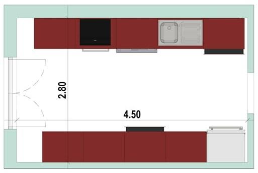 2D-Grundriss einer Küche in doppelter Linie mit der Software Edificius für den Architekturentwurf erstellt