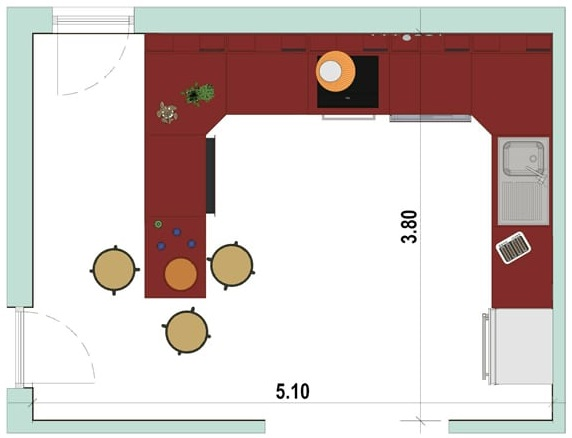 2D-Grundriss einer Küche mit Halbinsel mit der Software Edificius für den Architekturentwurf erstellt