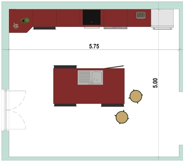 2D-Grundriss einer Küche mit Insel mit der Software Edificius für den Architekturentwurf erstellt