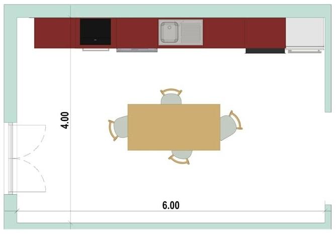 2D-Grundriss einer linearen Küche mit der Software Edificius für den Architekturentwurf erstellt
